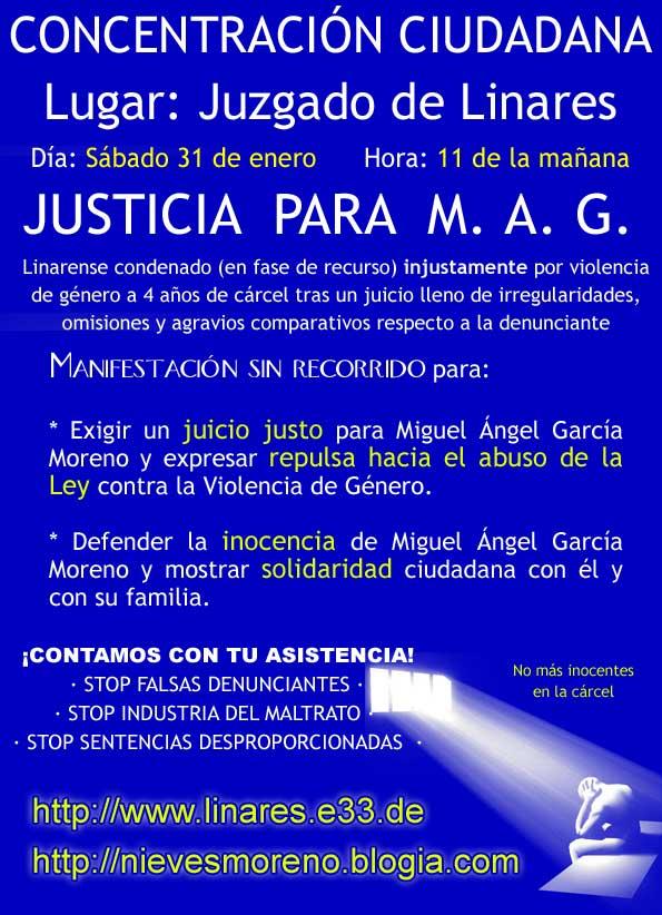 Cartel Convocatoria Concentración Ciudadana en Linares